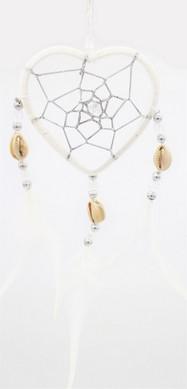 Capteur de rêve coeur blanc diamètre 6 cm