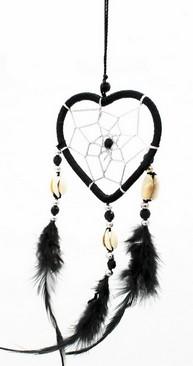 Capteur de rêve coeur noir diamètre 6 cm