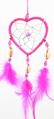 Capteur de rêve coeur rose diamètre 6 cm