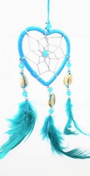 Capteur de rêve coeur turquoise diamètre 6 cm