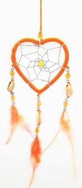 Capteur de rêve coeur orange diamètre 6 cm