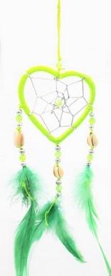 Capteur de rêve coeur vert diamètre 6 cm