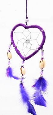 Capteur de rêve coeur violet diamètre 6 cm
