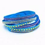 Bracelet double tour turquoise avec strass